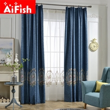 Thickened Embroidery Mirror Flower Shade Curtains For Living Room American Simple Bedroom Sheer Tulle Drapes Custom AP297-30(China)