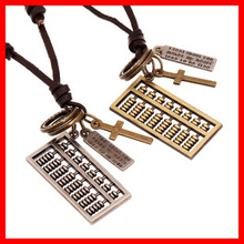 Handmade Cross and An Abacus Charm Necklace Adjustable Leather Rope Metal Pendant Fashion Necklace