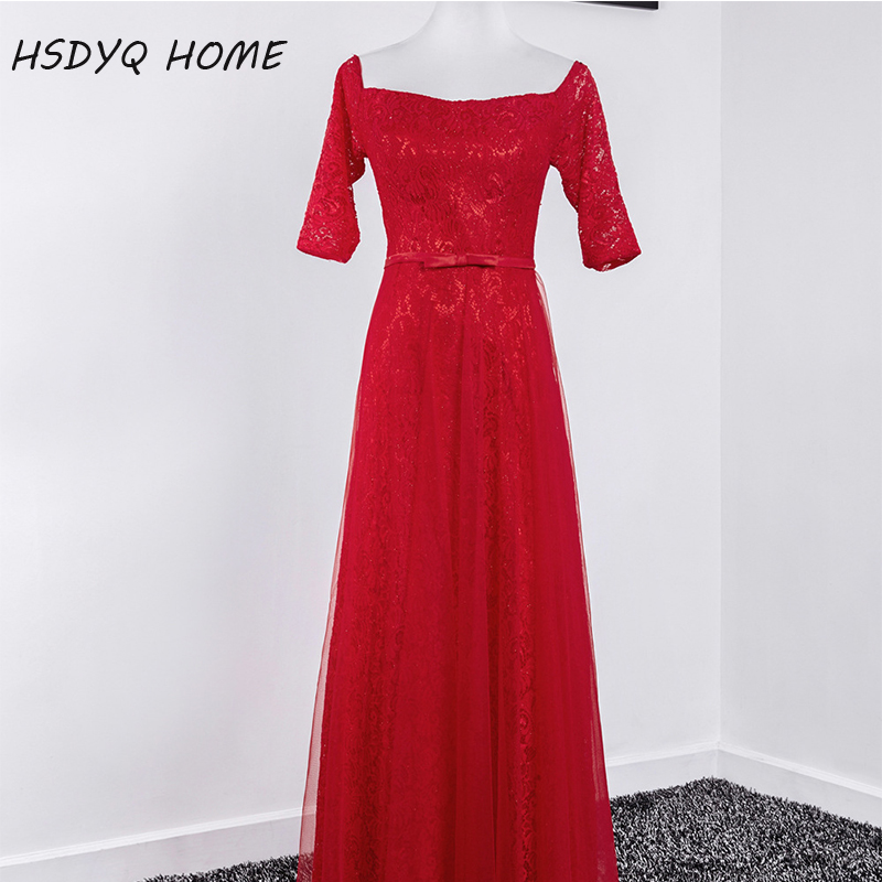 In Stock Red Prom Evening dresses Scoop Neckline A-Line Evening Party dress Floor-Length Lace Half Sleeve Vestidos Real photo
