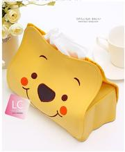 1pcs Cute Cartoon Style Hello Kitty Winnie the Pooh Tissue Box Leather Tissue Holder Cover Removable Home Decoration Accessories