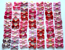 100pcs Dog Grooming Bows Pink Red rose pink Cat Pet hair bows Princess girls hair accessories Pet Dog Bowknot Rubber bands