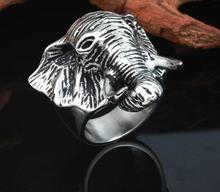 Cool Vintage Rings For Men Stainles Steel Elephant Ring Personality Punk Religious Male Jewelry Accessory Anel Jewelry