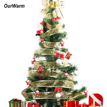 Ourwarm 10Yards Organza Ribbon Christmas DIY Ribbons Christmas Tree Decorations for Home Festive Party Supplies Blue Red Gold(China)