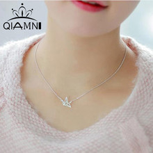 QIMING Silver 925 Elegant Origami Crane Necklace Sterling Silver Paper Crane Charm Pendant Charm Necklace Wholesale Jewelry