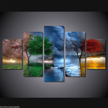 Art  Abstract Indoor  Decor  4 Seasons tree art vintage print poster canvas 5 pieces  20x35cmx2,20x45cmx2,20x55cm