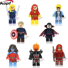 10Set PG8059 Super Heroes Dark Phoenix Cannonball Atom Woman Red Arrow Black Canary Captain America Building Blocks Kids Toys