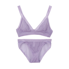 Buy Wriufred Ultra-thin Mesh Lace Triangle Cup Bra Set Comfortable Lady Underwear Lingerie Sets Plus Size Bra Non-Convertible Straps