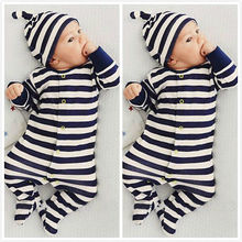 Newborn Boys/Girls Polo Baby Jumpsuit Climbing Clothes Romper Hoodie Striped