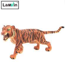 Lamwin Realistic Africa PVC Plastic Wild Animal Toy Tiger Solid Type Action Figure Model For Children
