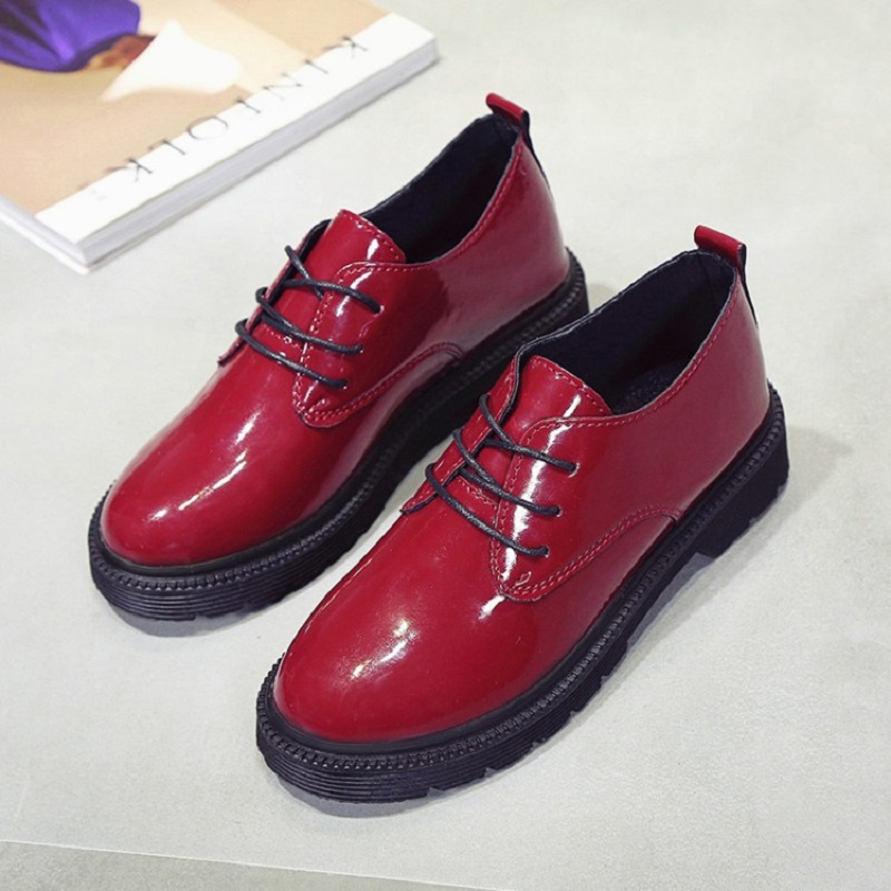 2017 autumn new Korean the thick bottom shoes British wind retro small leather shoes round leather female shoes<br>