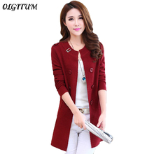 2017 spring new Miss Han Ban sweater coat long-sleeved cardigan thin sweater long section of large size women's coat