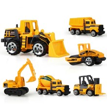6PCS/LOT Diecast Mini Alloy Construction Vehicle Engineering Car Dump-Car Dump Truck Model Classic Toy for Boys Brinquedo Menino