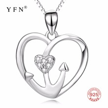 PYX0181 High Quality 925 Sterling Silver Classic Love Heart Pendants Necklaces Crystal CZ Anchor Jewelry Necklace For Women(China)