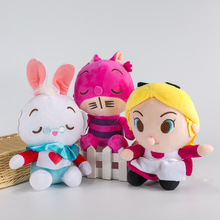New Alice In Wonderland Anime The Red Queen Cheshire Cat White Rabbit Alice Q Stuff Plush Toy Doll Birthday Gift Collection(China)