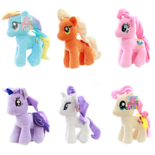 "1pcs 7"" 18cm Cute Rainbow Horse Toys Cartoon Toys Hobbies Stuffed Dolls Movie TV Stuffed Plush Animals Little Horse BaoLi(China)"
