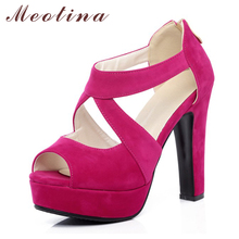 Meotina Designer Shoes Women Sandals Platform Sandals Shoes Cross Strap High Heel Sandals Zip Ladies Sexy Party Shoes Size 34-43(China)