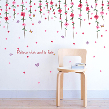 Zs Sticker Roof Flowers Wall Sticker pink Home Decoration Accessories Bedroom Decor willow Wall Stickers Home Decor(China)
