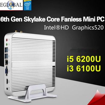 Eglobal sexta skylake 6200u fanless mini pc win 10 barebone i5/i3 6100u intel hd graphics 520 caja de la tv 4 k htpc micro ordenador