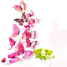 12Pcs 3D Double Layer Feather Butterfly Sticker Fridge Magnet Decal Stickers Muraux 3d Salon Butterflies for Home Decor Diy
