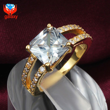 Wholesale Price 18K Real Gold Color Trendy Jewelry Square Shape AAA+ CZ Diamant Wedding Rings for Women Christmas Gift ZR584