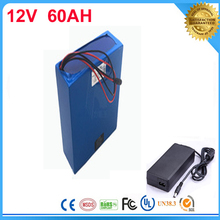 5pcs electric bicycle battery 12V Rechargeable Customized 12v 60ah lithium battery pack for ups LED light/solar street light(China)