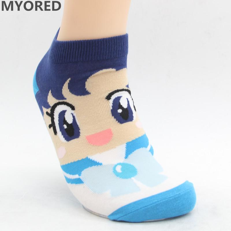 MYORED Spring summer fashion women's short tube socks cartoon cotton socks Cute lovely sailor moon female ankle sock 6pair/Lot 13