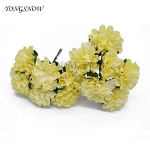 12pcs 3cm MIni Artificial Paper Chrysanthemum Flower Wedding Decoration Bouquets Scrapbooking Decorative Paper Cheap Flores