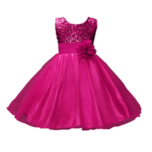 Elegant Girls Wedding Party Dress Bling Sequins Princess Ball Gown kids frock designs Dresses robe fille For 3 4 6 8 10 12 14 Y