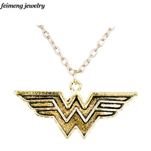 Freeshipping wholesale Wonder Woman Pendant necklace Antique Gold Color Pendant