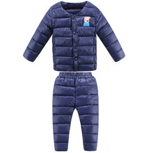 KIDS Clothing Sets warm winter thermal underwear modal down cotton children wadded jacket set baby thermal underwear sets(China)