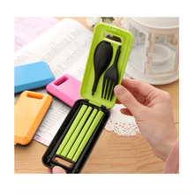 Cute PPortable Travel Kids Adult Cutlery Travel Fork Tableware Dinnerware Sets Camping Picnic Set Gift For Child Kids