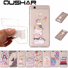 QuShar Cute Cat Owl Case for Huawei P9 Lite Clear Case Soft High Quality Silicone TPU Thin Back Cover for Hawei P9lite 2016 Capa(China)