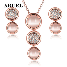 ARUEL EuropeStyle Lady Opal Jewelry Sets Rose Gold/Silver Plated Chain Neklace Earrings For Women Wedding Engagement Bijoux Gift