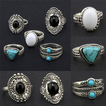 Women Boho Silver Color Ring Bohemian Vintage Punk Above Knuckle Midi Rings Set For Women Charm Jewelry 5pcs/set