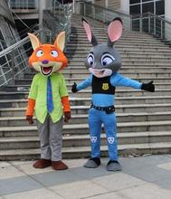 2017 Zootopia Adult Size Rabbit Mascot Costume Zootopia fox Mascot Cartoon Mascot Costume Movie Role Clothing For Party Fancy D