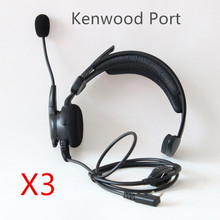 XQF 3pcs New TK port  PTT MIC High Quality Anti-noise Anti-wrestling speaker Headphone Headset for Kenwood radio Baofeng UV-5R