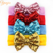 "Retail 1PC Chic European Kids Girl 5"" Big Sequin Hair Bow headband Wholesale Elastic Headwrap For Kids 2017 New Hair Accessories"