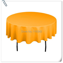 Spun polyester 90inch gold 10pcs table cloth table linen for banquet and wedding events Free Shipping
