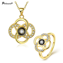 Special design Russian buyers! tin alloy gold plated  Rhinestone jewelry set:pendant necklace and ring