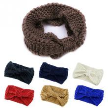2016 New Arrival Winter Bowknot Knit Hairband Warm Wool Headband Girls Stretch Turban Cap Hat 7 colors