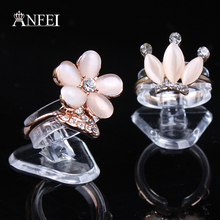 ANFEI 100pcs/lot  Wholesale Clear View Plastic Ring Display Stand Holder High quality transparent jewelry display shelf