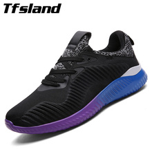 Tfsland New Men Light Weight Mesh Sports Shoes Men Jogging Sneakers Male Flat Breathable Mesh Zapatillas Chaussures Rugby Shoes
