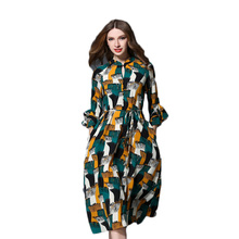 Recommended Goods Fashion Print Flare Sleeves Women Dresses Spring 2017 New Knee-Length Slim Chiffon Female Dresses Q1325