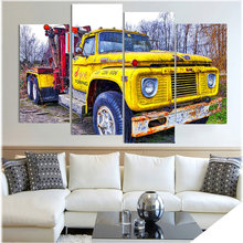 HD Printed Yellow Old Truck Picture 4Pcs Painting Wall Art Room Decor Print Poster Canvas Art for Living Room Decoration XA375D(China)