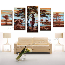 100% Hand painted Big Wall Art Tree African Woman Painting Landscapes Wall Home Decor Oil Painting On Canvas