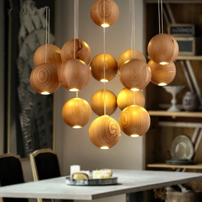 Nordic IKEA Creative Personality Lighting Lamp Minimalist Restaurant Hanging Lights Living Room Wood Craft Pendant