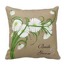 HOT SALE Decorative Pillow Case Vintage White Gerber Daisy Flowers Wedding Set Pillowcase White flowers(China)
