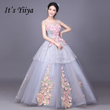 It's YiiYa Popular Gray Red Blue O-Neck Short Sleeves Floor Length Wedding Dresses A-line Flowers Illusion Bride Gowns X016(China)