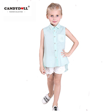 2017 New Summer Girls Blouses Kids Cotton Sleeveless Turn Down Collar Solid Shirt for Baby Slim Style High Quality