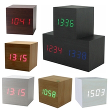 Hot USB/AAA Powered Cube LED Digital Alarm Clock Square Modern Sound Control Wood Clock Display Temperature Night Light(China)